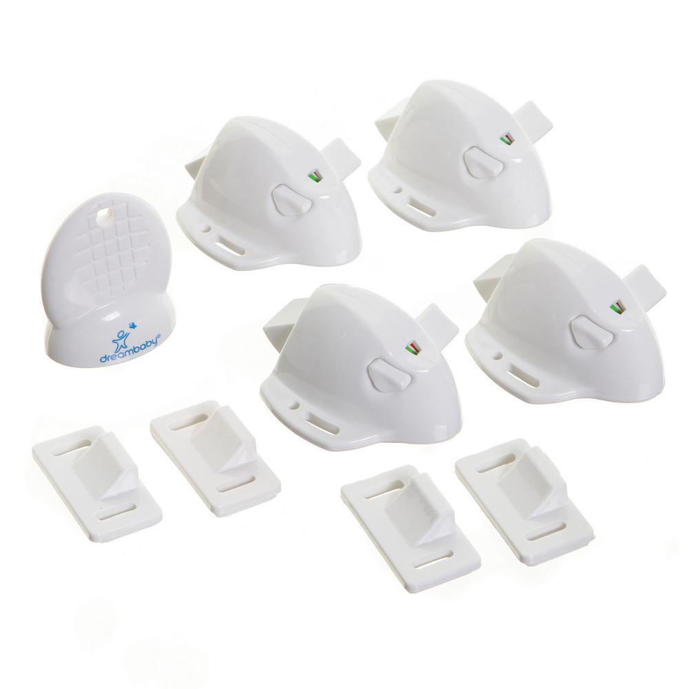 Dreambaby White Mag Locks Adhesive Magnetic Locks (4 Locks, 1 Key)