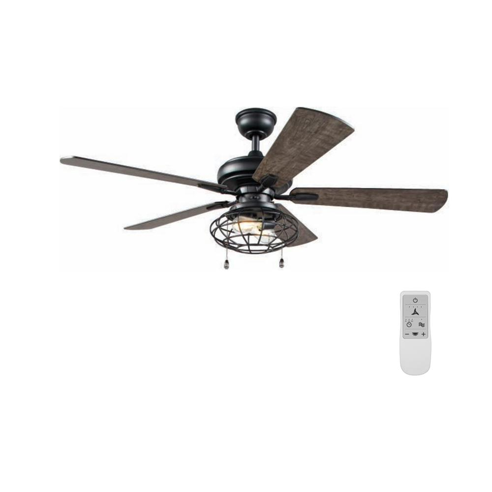 Home Decorators Collection Ellard 52 in. LED Matte Black Ceiling Fan with Light Kit and WiFi Remote Control works with Google and Alexa