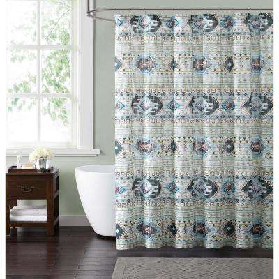 Simone Tribal 72 in. Neutral Shower Curtain