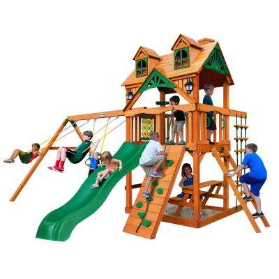 Chateau Wooden Swing Set with Malibu Wood Roof and Picnic Table