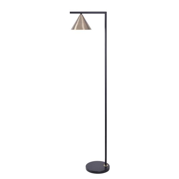Peek 63 in. Black and Antique Brass Floor Lamp with Adjustable Shade