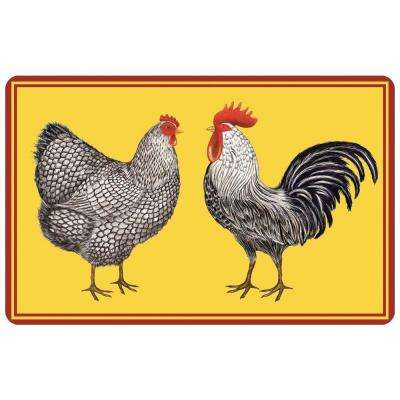 Multi Color 23 in. x 36 in. Neoprene Farmhouse Chickens Door Mat
