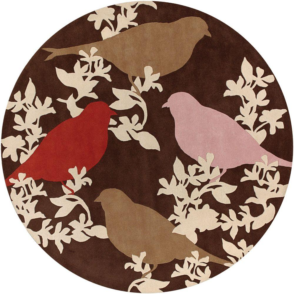 Chandra Thomaspaul Brown/Cream/Pink/Red 7 ft. 9 in. Indoor Round Area Rug