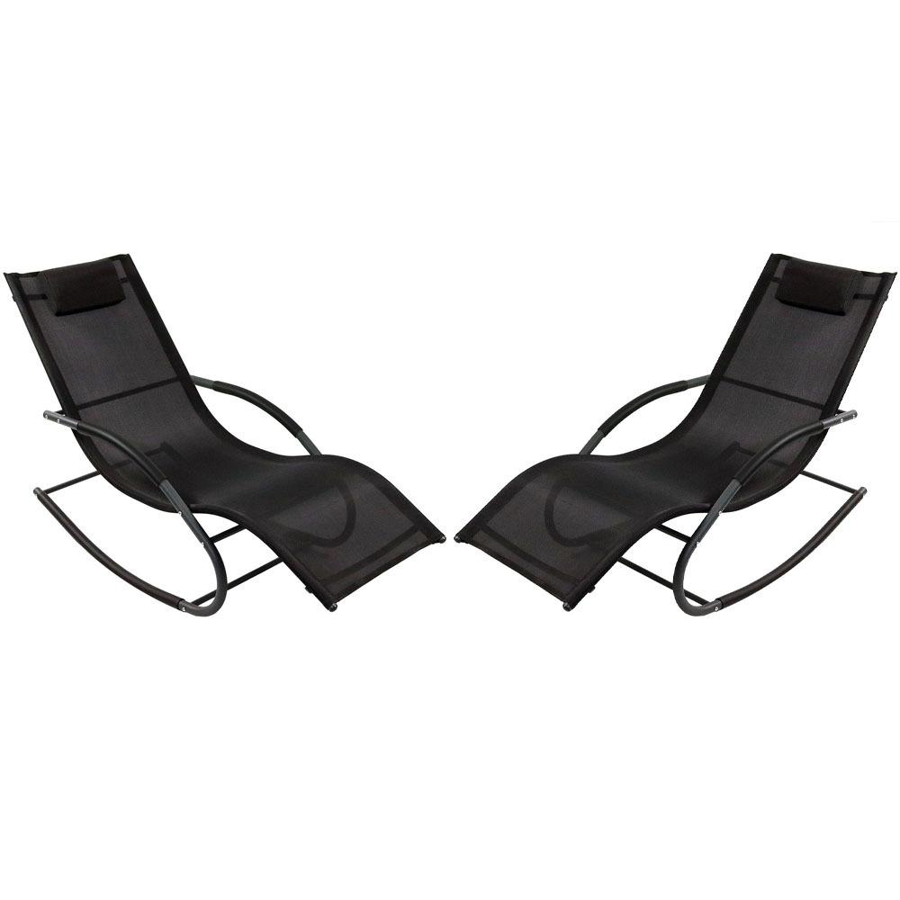 Sunnydaze Decor Black Rocking Wave Sling Outdoor Lounge Chairs with Pillows (Set of 2)