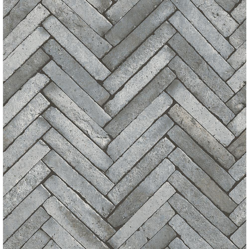 Brewster 56.4 sq. ft. Arrow Grey Diagonal Slate Wallpaper
