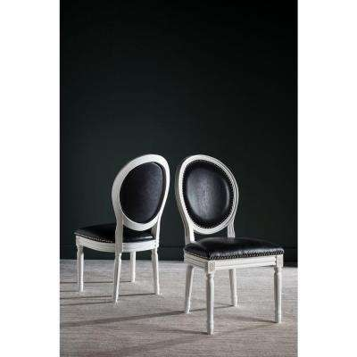 Holloway Oval Bicast Leather Chair in Black and Cream Finish (2-Pack)