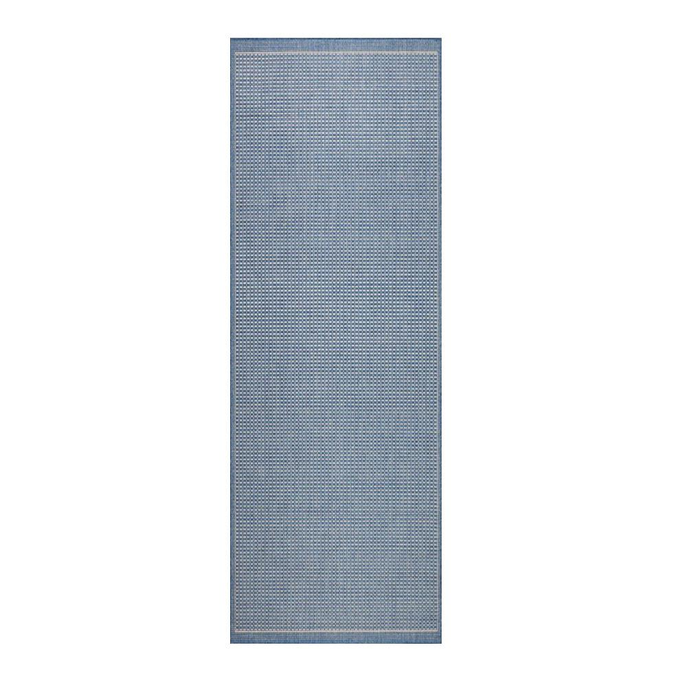 Wonderful Home Decorators Collection Saddlestitch Blue/Champagne 2 Ft. X 8 Ft. Indoor/