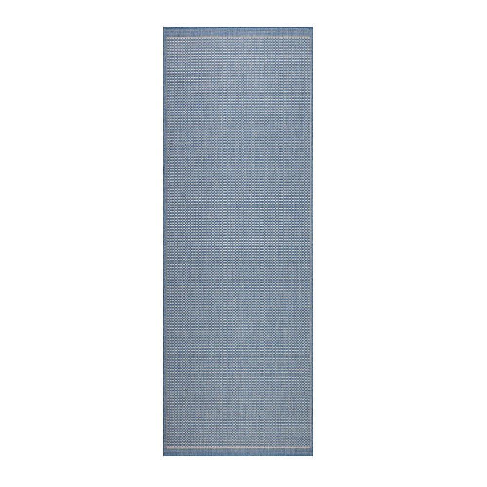 Saddlestitch Blue/Champagne 2 ft. x 8 ft. Indoor/Outdoor Runner Rug
