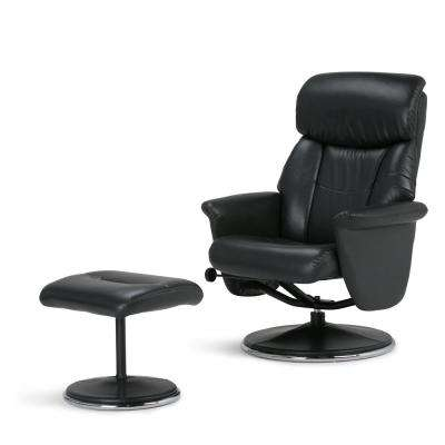 Carson 31 in. Wide Contemporary Euro Recliner in Black Faux Air Leather