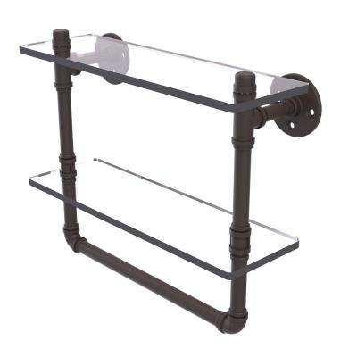 Pipeline Collection 16 in. Doulbe Glass Shelf with Towel Bar in Oil Rubbed Bronze