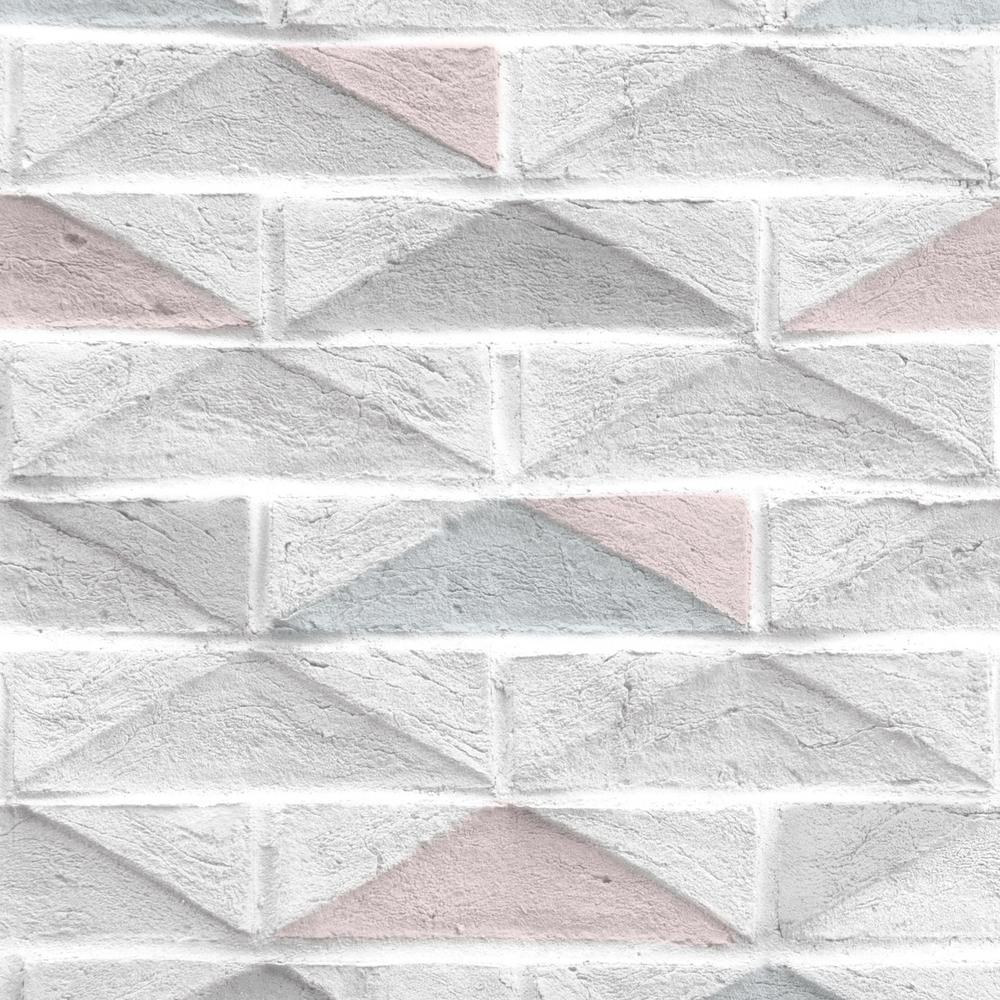 Strata Geo Brick White Removable Wallpaper