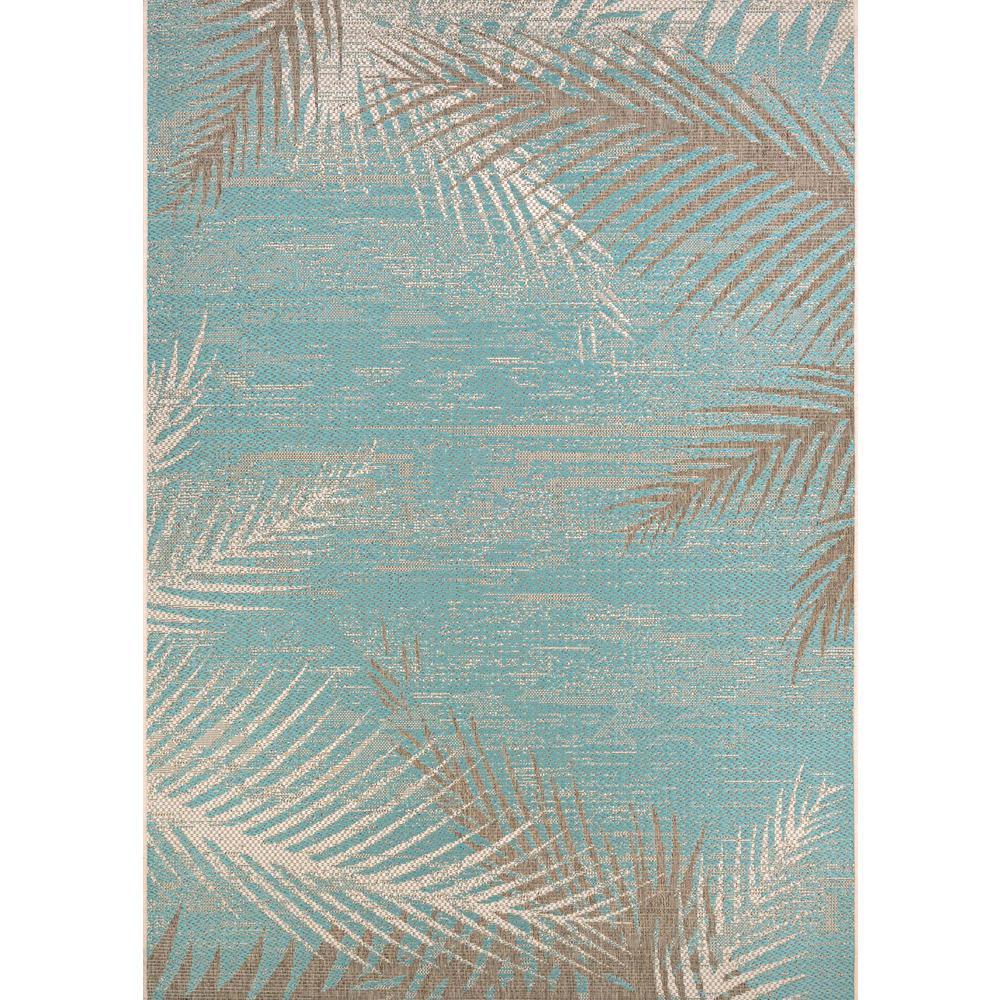 Monaco Tropical Palms Aqua 8 ft. x 11 ft. Indoor/Outdoor Area Rug