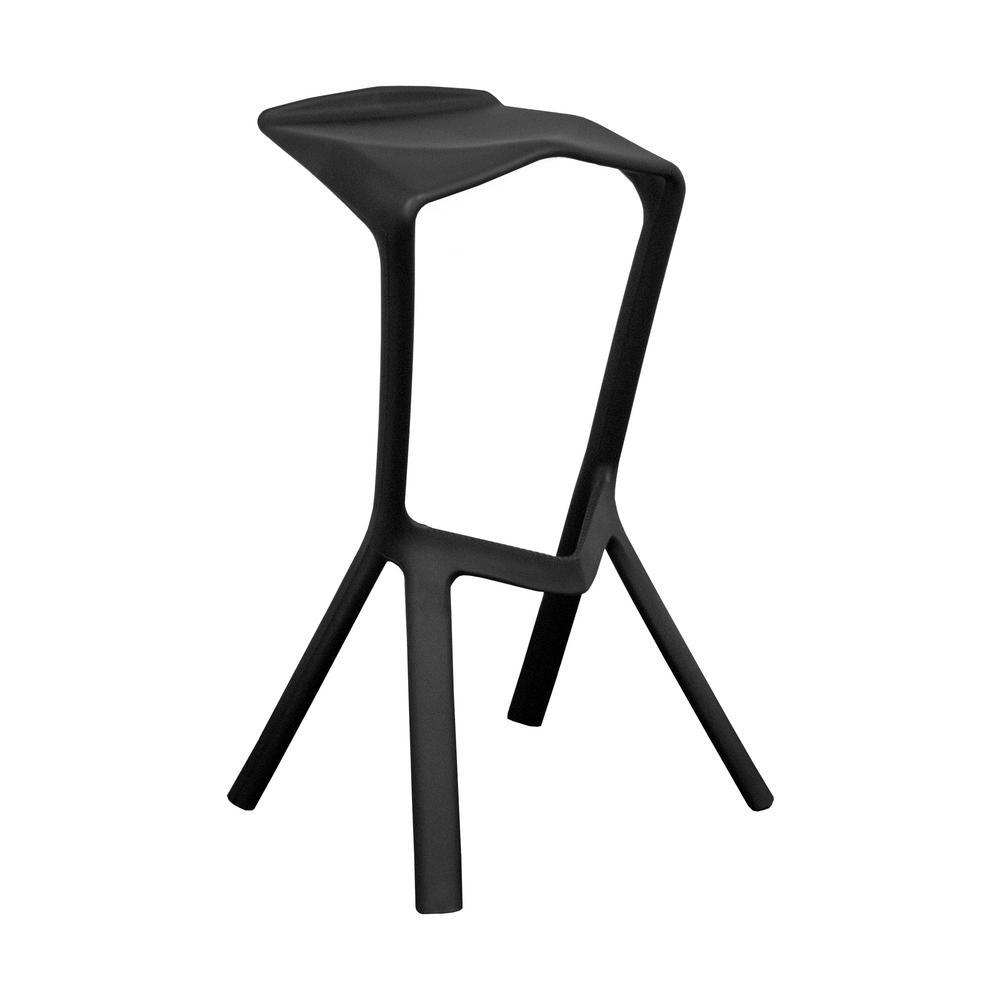 32 in. Black Aspect Modern Plastic Barstool (Set of 2)