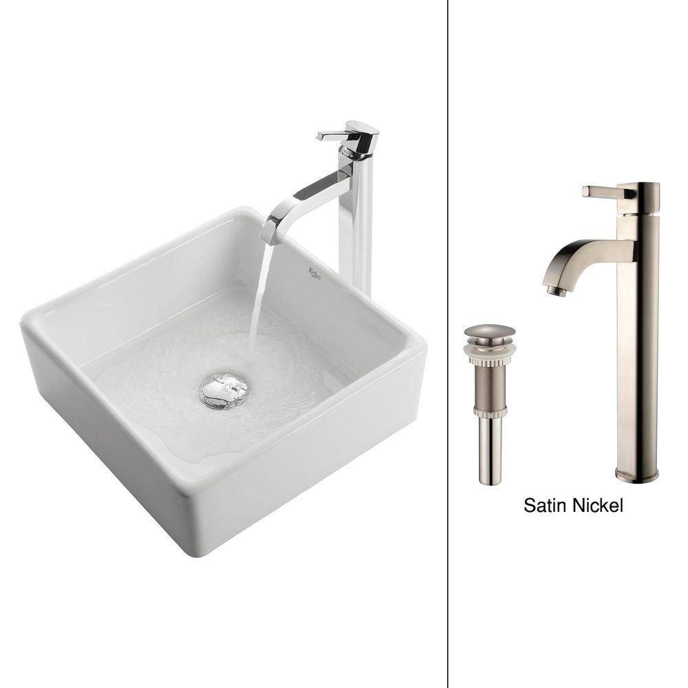Kraus Square Ceramic Vessel Sink in White with Ramus Faucet in Satin Nickel by KRAUS