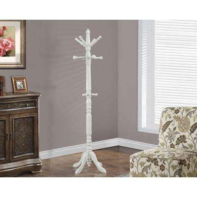 Antique White 9-Hook Coat Rack