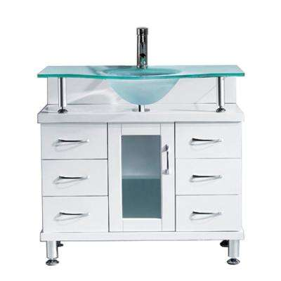 Vincente 36 in. W Bath Vanity in White with Glass Vanity Top in Aqua with Round Basin