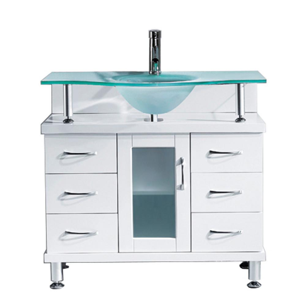 Virtu USA Vincente 36 in. W Bath Vanity in White with Gla...