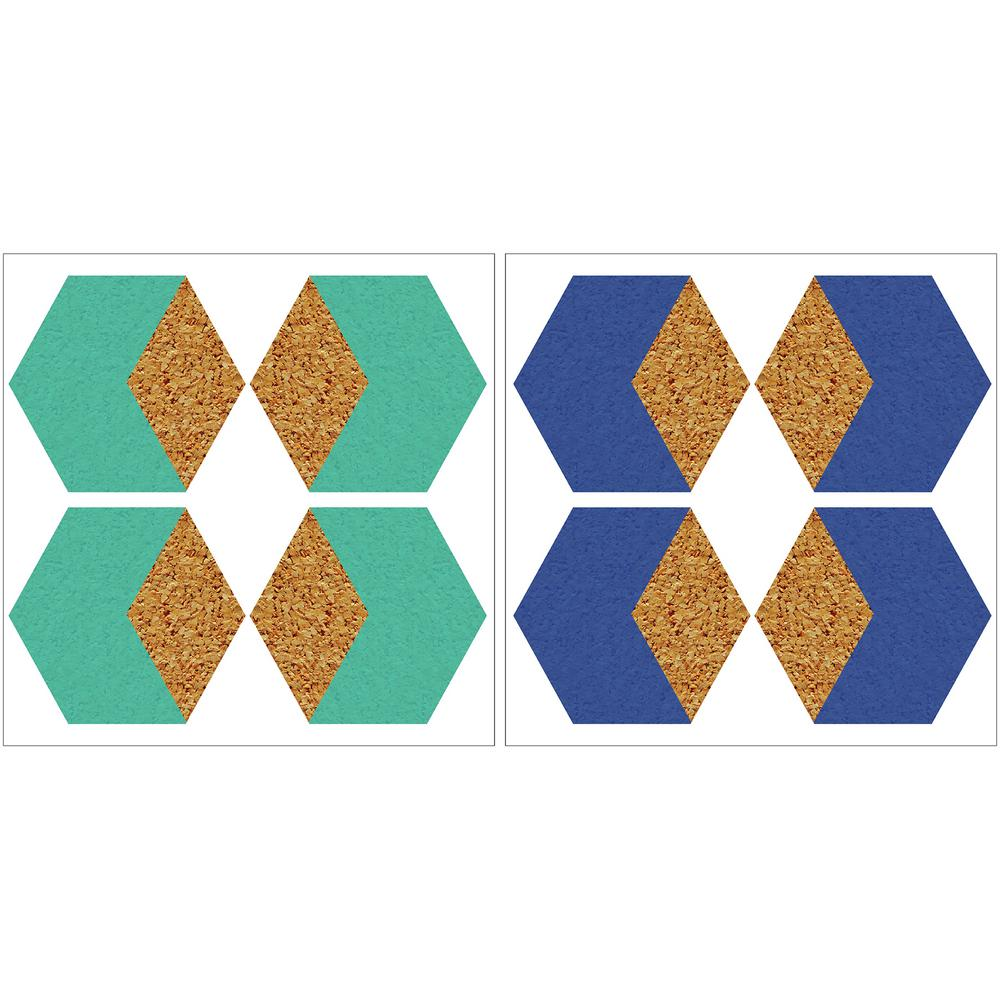 Wallpops 24 in. x 12 in. Hex Blue and Green Cork Organize...
