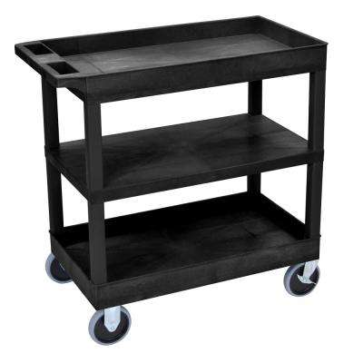 EC 35.25 in. W x 18 in. D x 37.25 in. H 3-Shelf Utility Cart with 5 in. Casters in Black