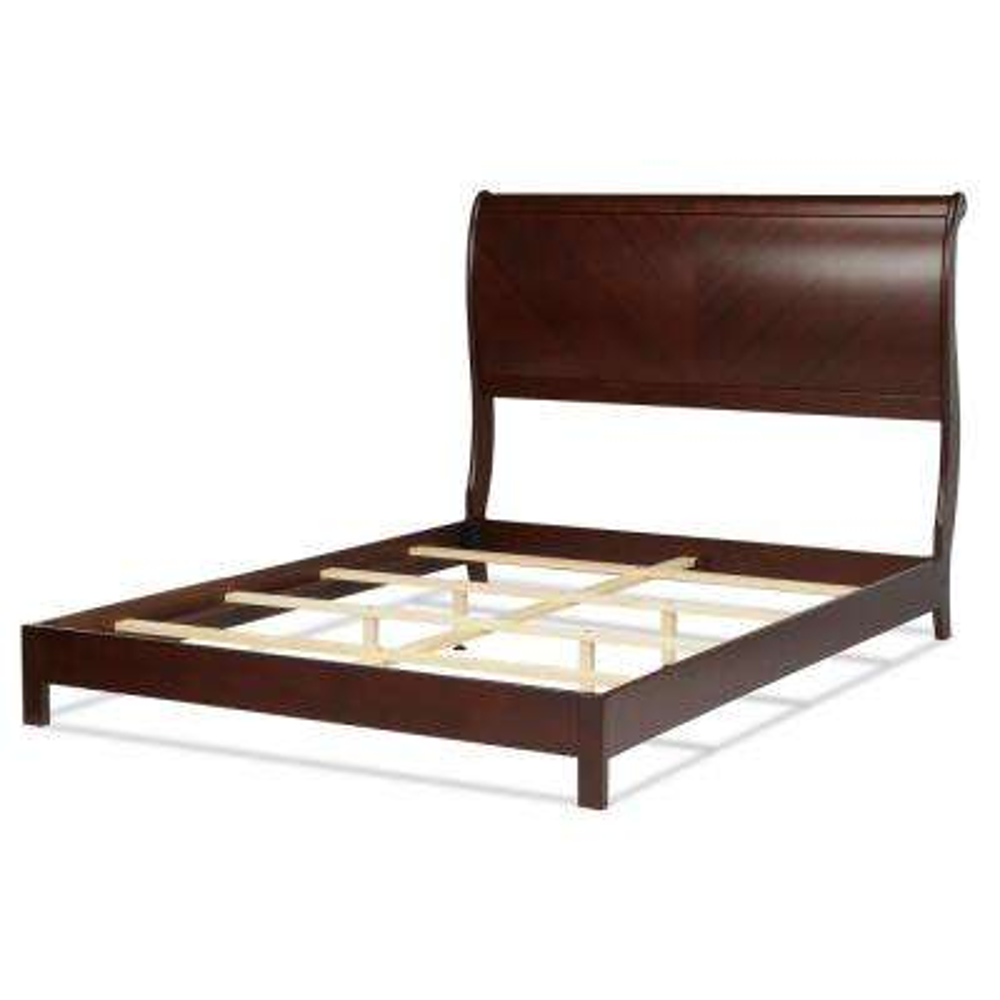 Bridgeport Espresso Queen Platform Complete Bed with Curved Sleigh Headboard