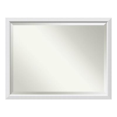 Blanco 44 in. W x 34 in. H Framed Rectangular Beveled Edge Bathroom Vanity Mirror in Satin White