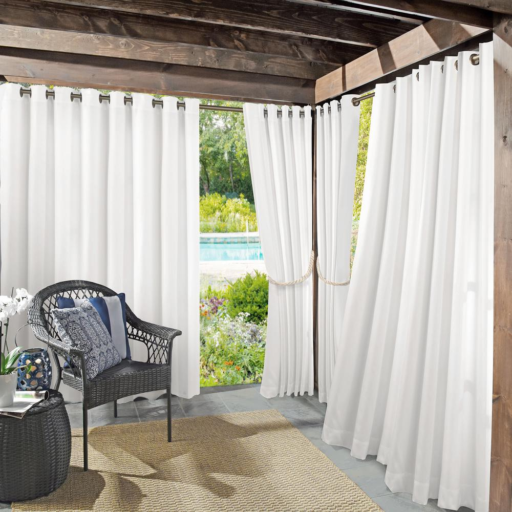 Sun Zero Outdoors Semi-Opaque Birmingham 52 in. by 84 in. White Indoor/Outdoor Woven Solid Window Curtain (Price Varies by Size)