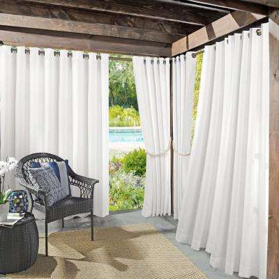 Semi-Opaque Birmingham 52 in. by 84 in. White Indoor/Outdoor Woven Solid Window Curtain (Price Varies by Size)