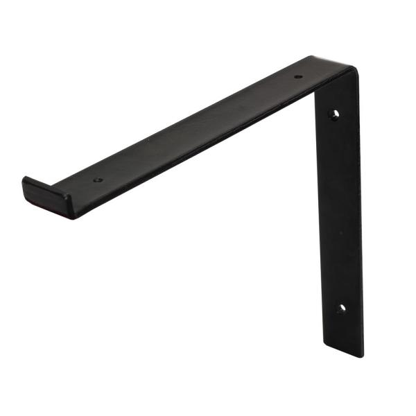 12 in. Black Steel Shelf Bracket for Wood Shelving