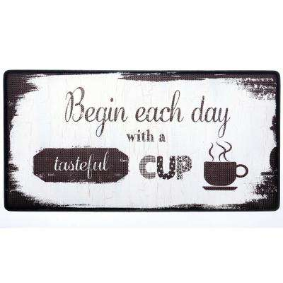 Cook N Comfort Beige Begin Each Day 20 in. x 39 in. Kitchen Mat