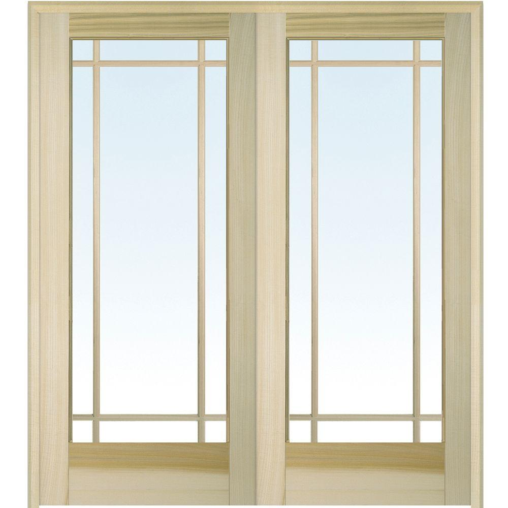 Mmi door 72 in x 80 in both active unfinished poplar glass 9 lite clear true divided prehung for Interior french doors