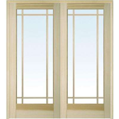 72 in. x 80 in. Both Active Unfinished Poplar Glass 9-Lite Clear True Divided Prehung Interior French Door