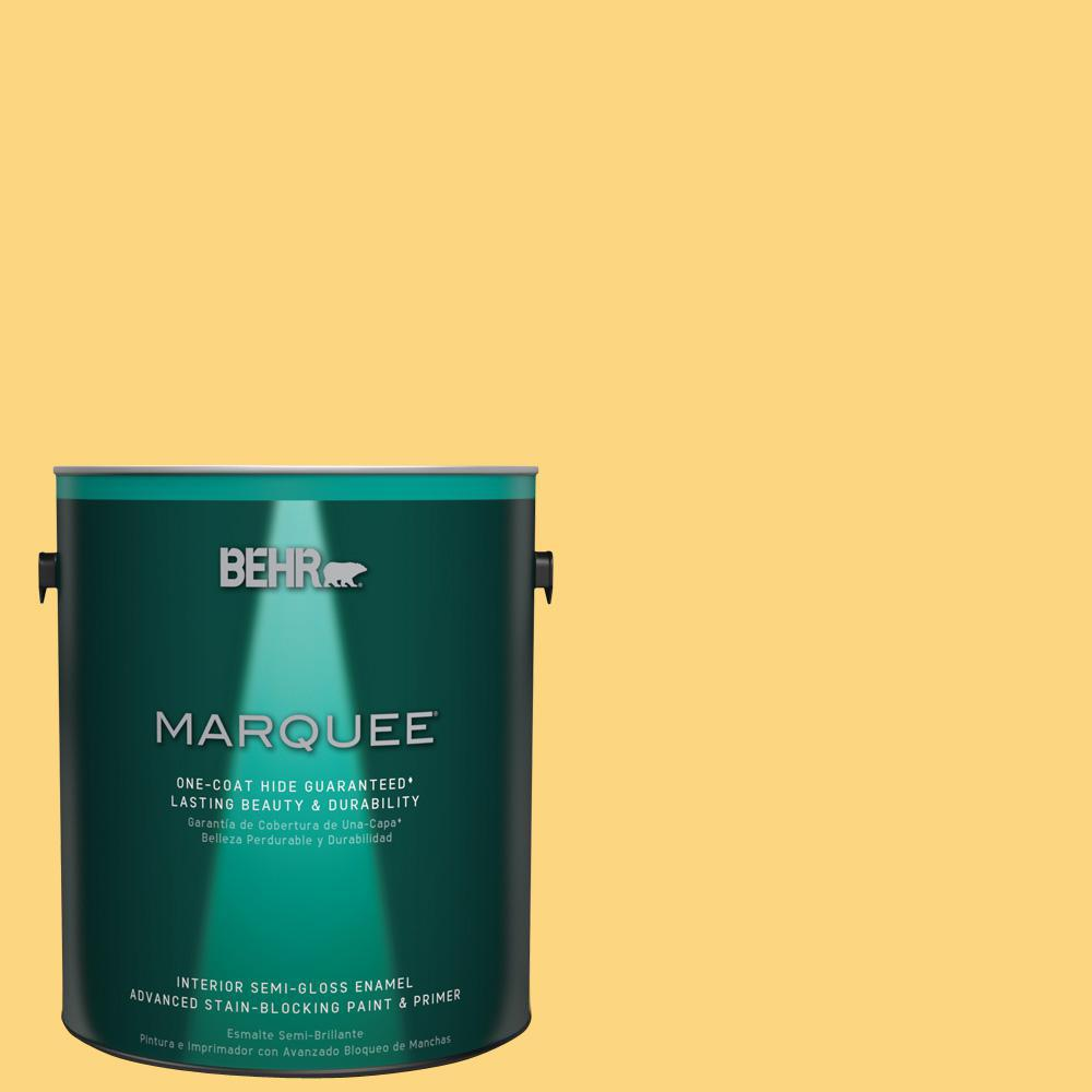 1 gal. #T17-20 Lemon Burst Semi-Gloss Enamel Interior Paint