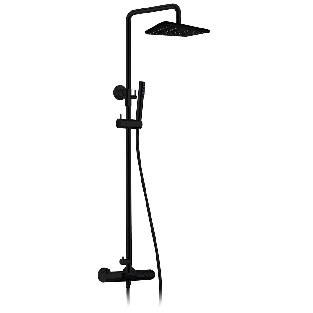 Jade Bath Jacki Thermostatic Shower System with Shower Head, Hand Shower, Toe Tester in Matte Black