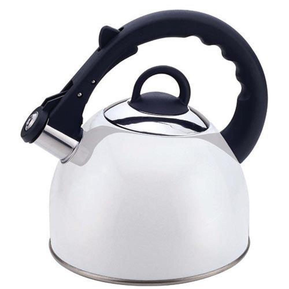 10-Cup Stainless Steel 2.5 Qt. Whistling Tea Kettle in White Paint