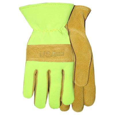 Sewn In USA Leather Glove with Hi-Vis Spandex Back