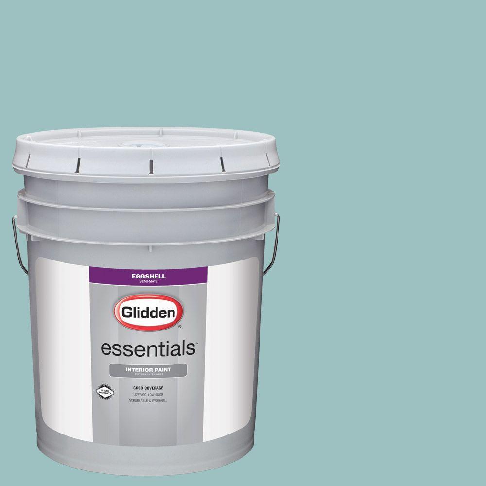 Glidden Essentials 5 Gal Hdgb24 Trattoria Teal Eggshell Interior Paint Hdgb24e 05en The Home Depot