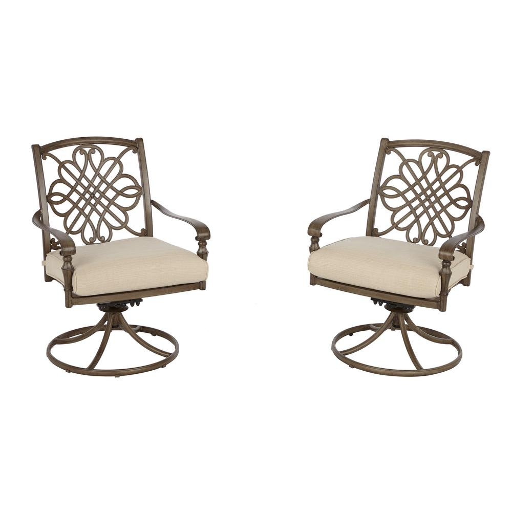 Cavasso Swivel Rocking Metal Outdoor Dining Chair with Oatmeal Cushion (2-Pack)