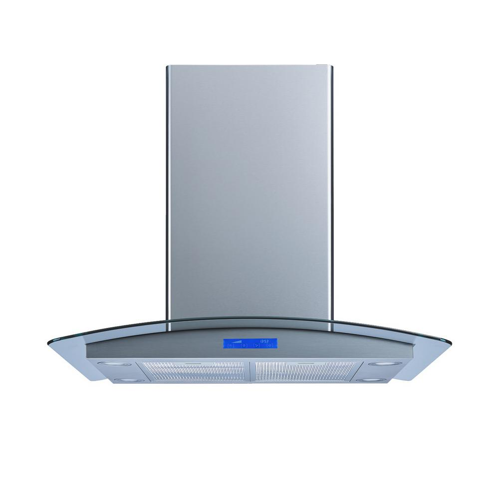 36 in. Convertible Island Mount Range Hood in Stainless Steel and