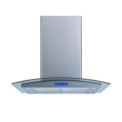 36 in. Convertible Island Mount Range Hood in Stainless Steel and Tempered Glass with Aluminum Filters And Touch Control