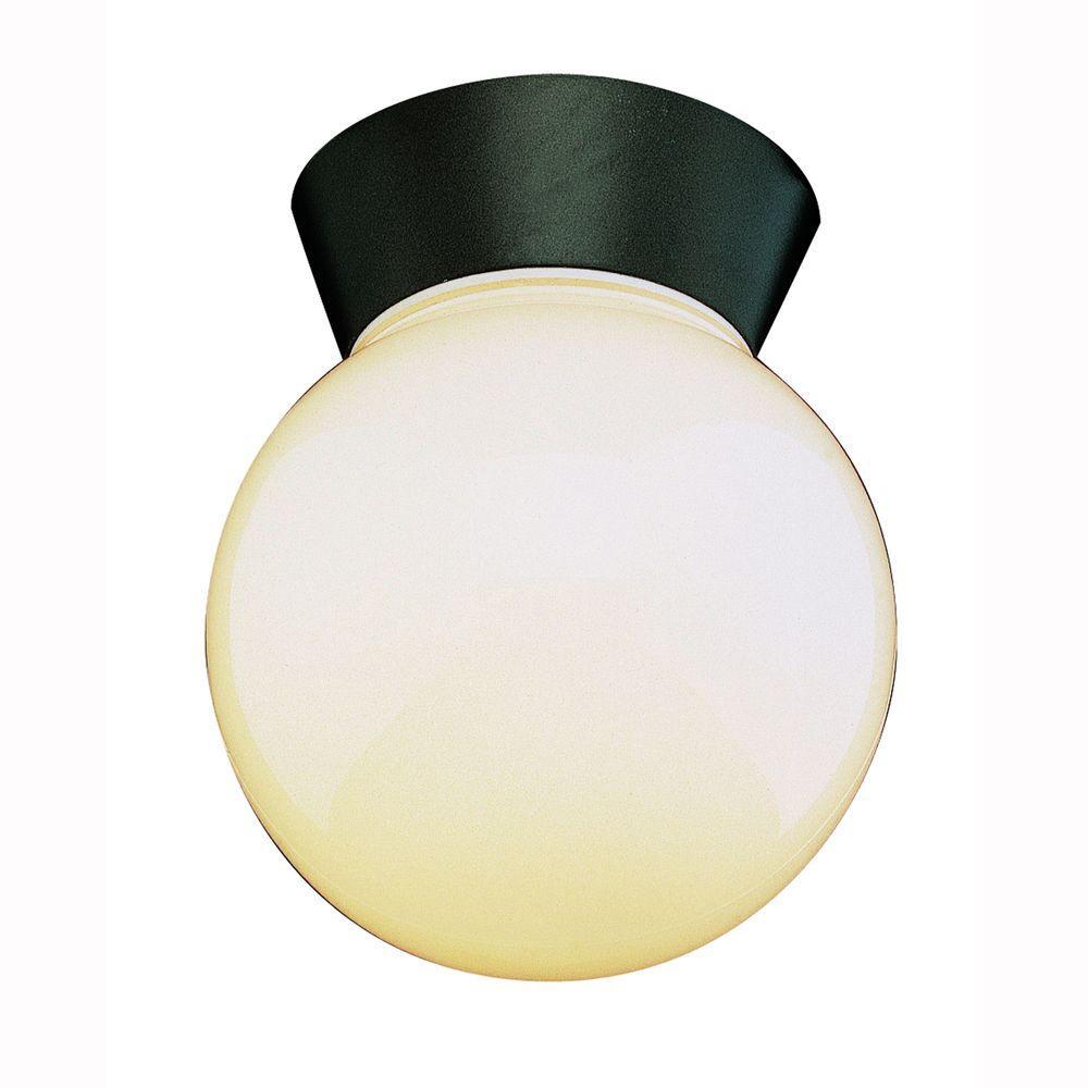 Metropolitan 1-Light Black Outdoor Flushmount with Opal Glass