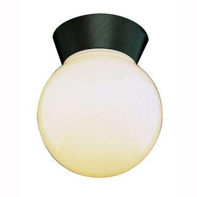 Metropolitan 1-Light Black Outdoor Flushmount with Opal Glass