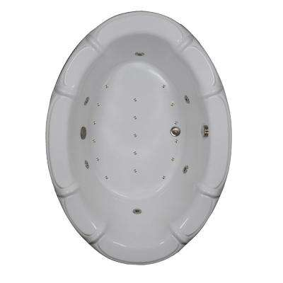 68 in. Acrylic Oval Drop-in Air and Whirlpool Bathtub in Sterling Silver