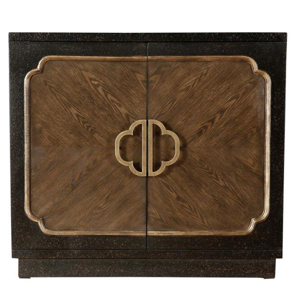 HomeFare Traditional Heavily Distressed Chocolate Two Door Accent Cabinet