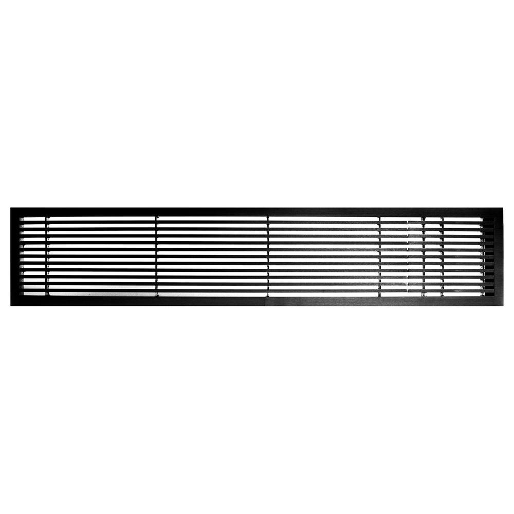 Architectural Grille AG20 Series 4 in. x 24 in. Solid Aluminum Fixed Bar Supply/Return Air Vent Grille, Black-Matte with Right Door