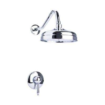 Traditional Single Handle 1-Spray Round Shower Faucet in Chrome Valve Included