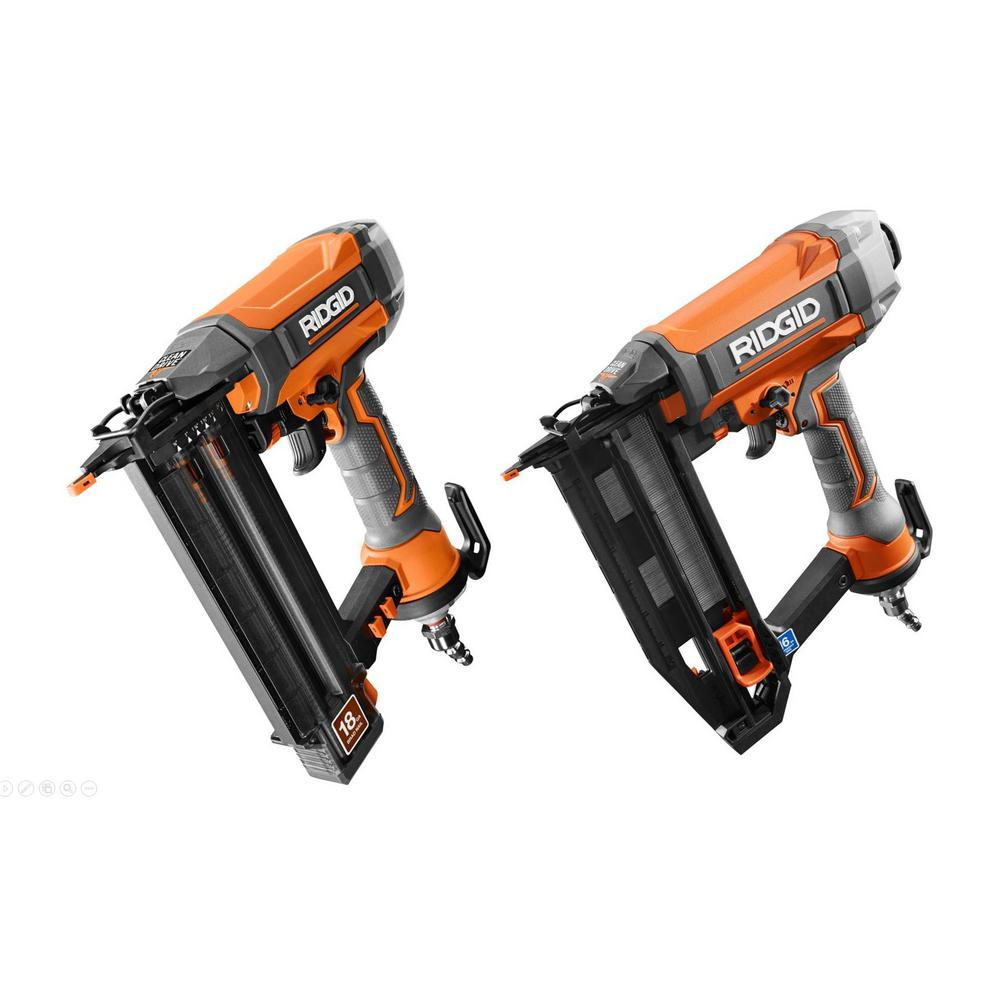 "RIDGID 18-Gauge 2-1/8 "" Brad Nailer and 16-Gauge 2-1/2 "" Straight Finish Nailer Kit"