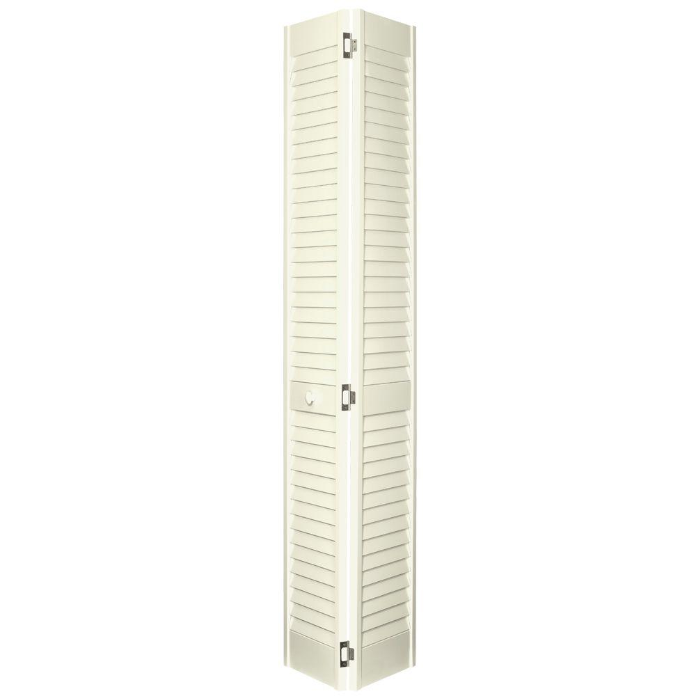 Home Fashion Technologies 2 in. Louver/Louver Behr Cottage White Solid Wood Interior Bifold Closet Door-DISCONTINUED