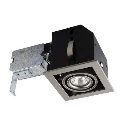 Single Cube 4-1/2 in. Brushed Steel Recessed Halogen Kit