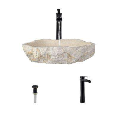Stone Vessel Sink in Galaga Beige Marble with 731 Faucet and Pop-Up Drain in Antique Bronze