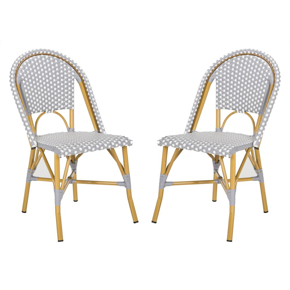 Awesome Safavieh Salcha Stacking Aluminum Outdoor Dining Chair In Grey And White Set Of 2 Gmtry Best Dining Table And Chair Ideas Images Gmtryco